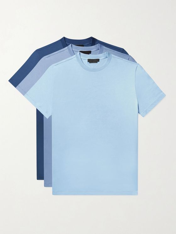 Prada Three-Pack Cotton-Jersey T-Shirts