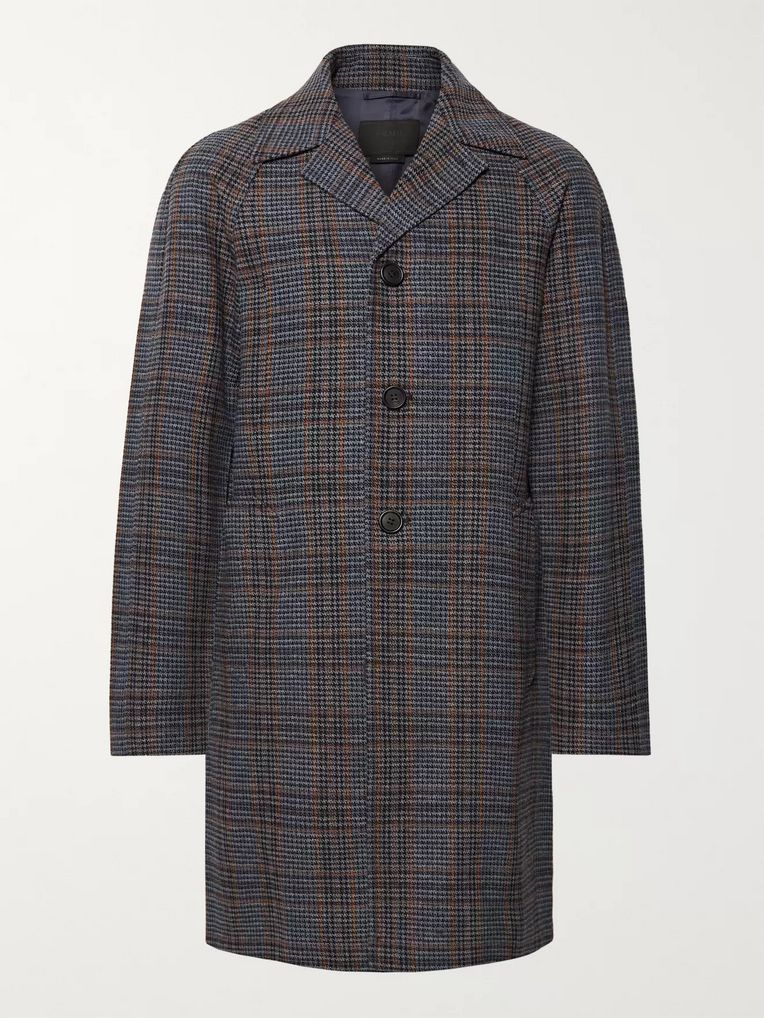 5cc81a18ff Prince of Wales Checked Virgin Wool Coat