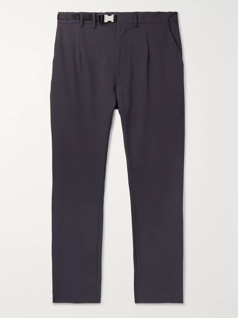 Prada Grey Tapered Belted Tech-Twill Trousers