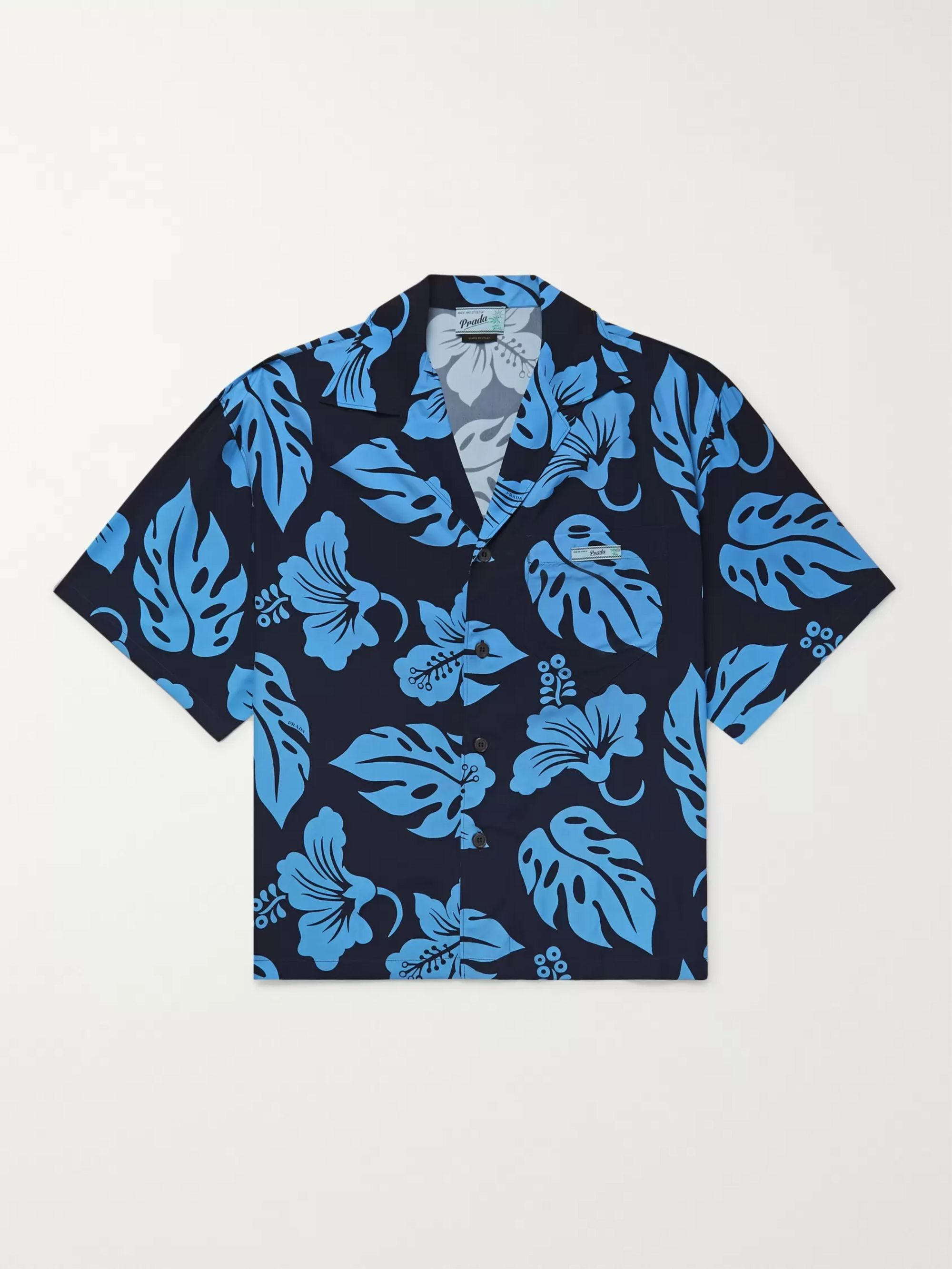 Prada Oversized Camp-Collar Floral-Print Woven Shirt