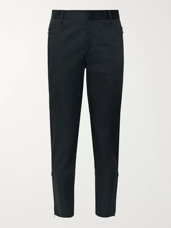 Prada Navy Slim-Fit Tapered Cotton-Blend Gabardine Trousers