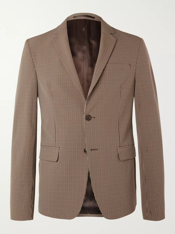 Prada Slim-Fit Checked Stretch-Shell Blazer