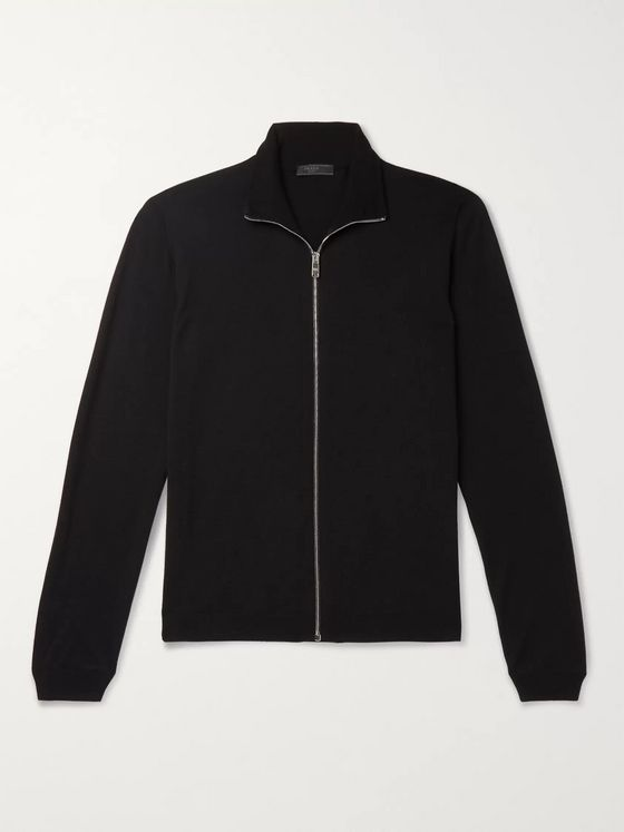 Prada Slim-Fit Virgin Wool Zip-Up Cardigan