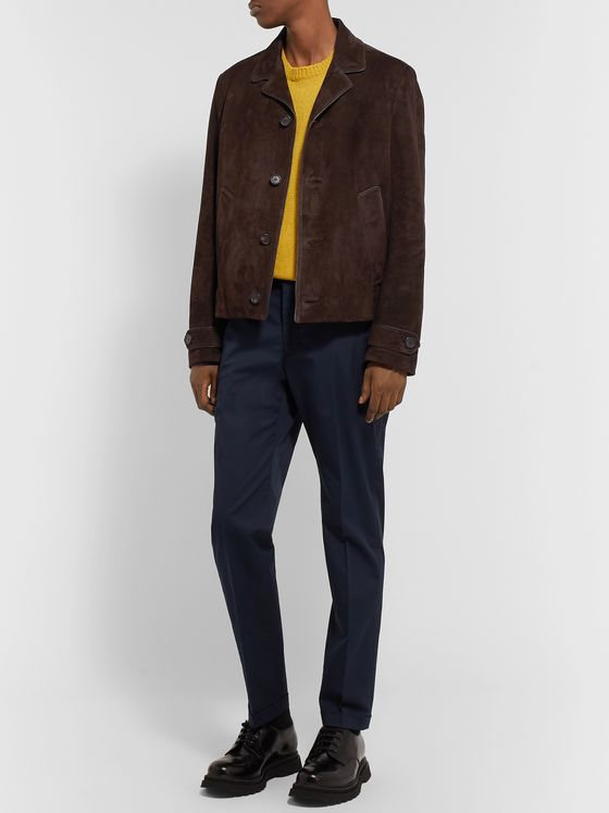 Prada Leather-Trimmed Suede Blouson Jacket