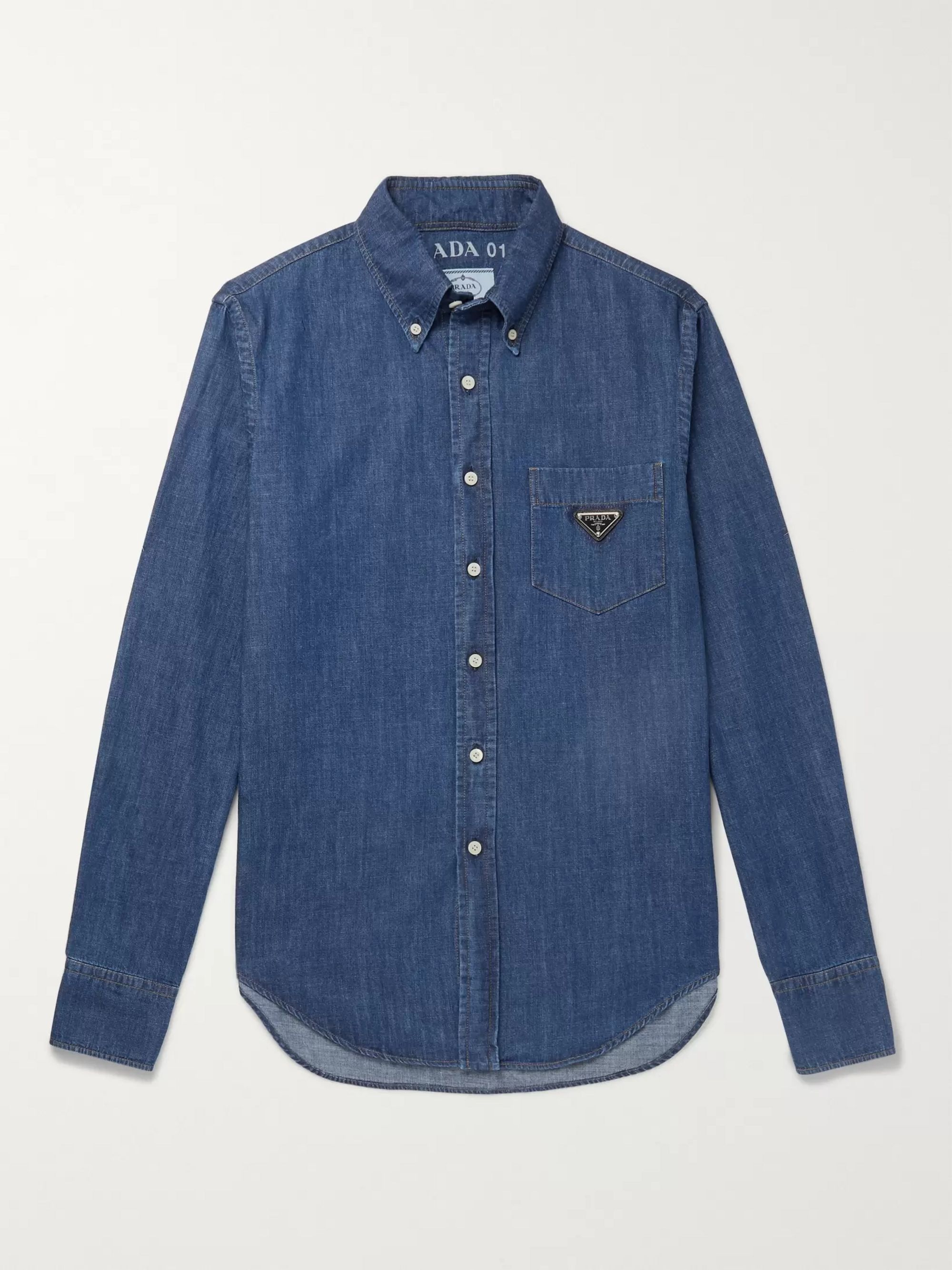 Prada Slim-Fit Button-Down Collar Logo-Appliquéd Denim Shirt