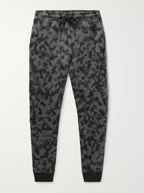 Nike Sportswear Slim-Fit Tapered Camouflage-Print Cotton-Blend Tech Fleece Sweatpants