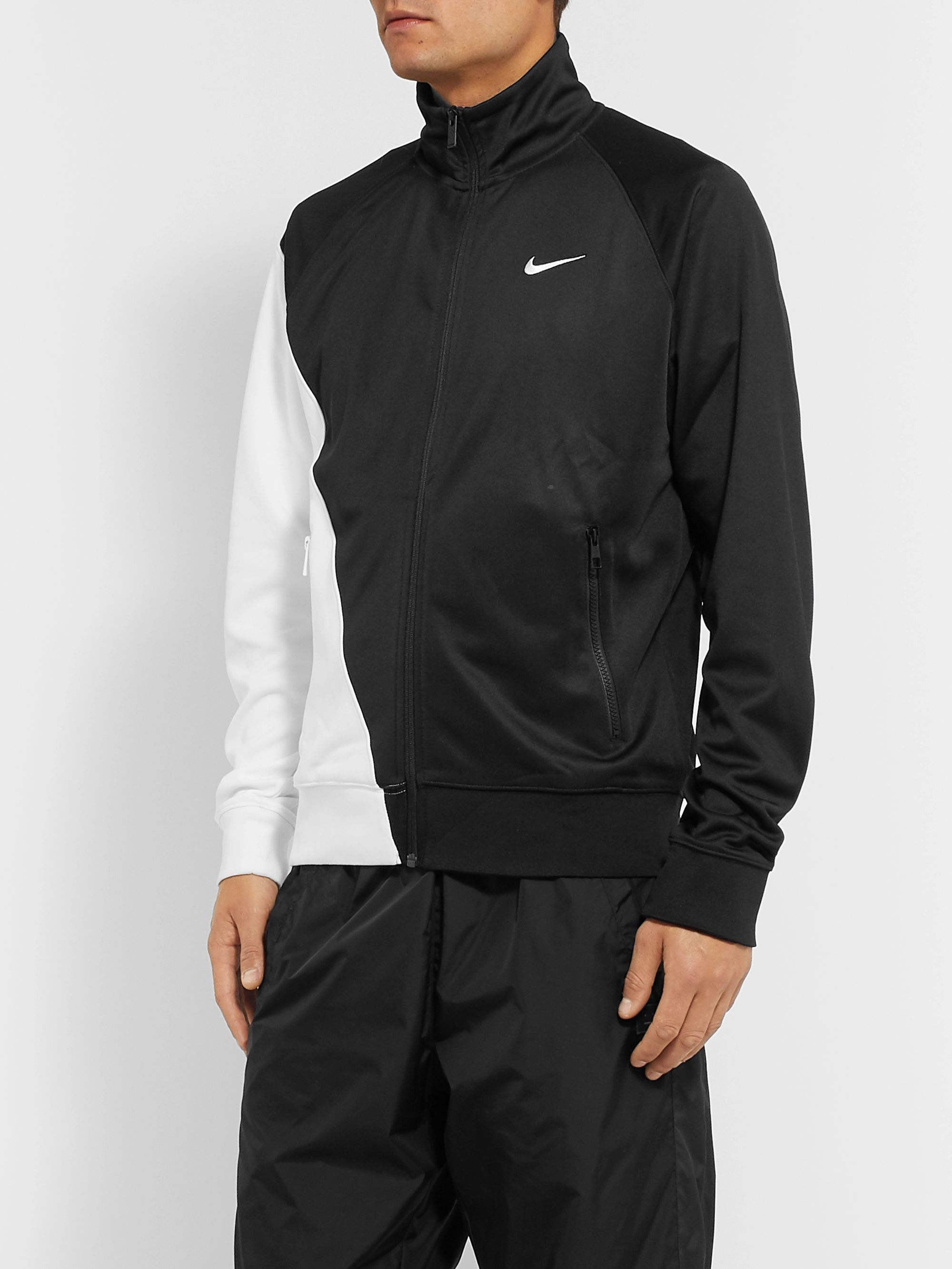 Nike Logo-Print Colour-Block Tech-Jersey Track Jacket