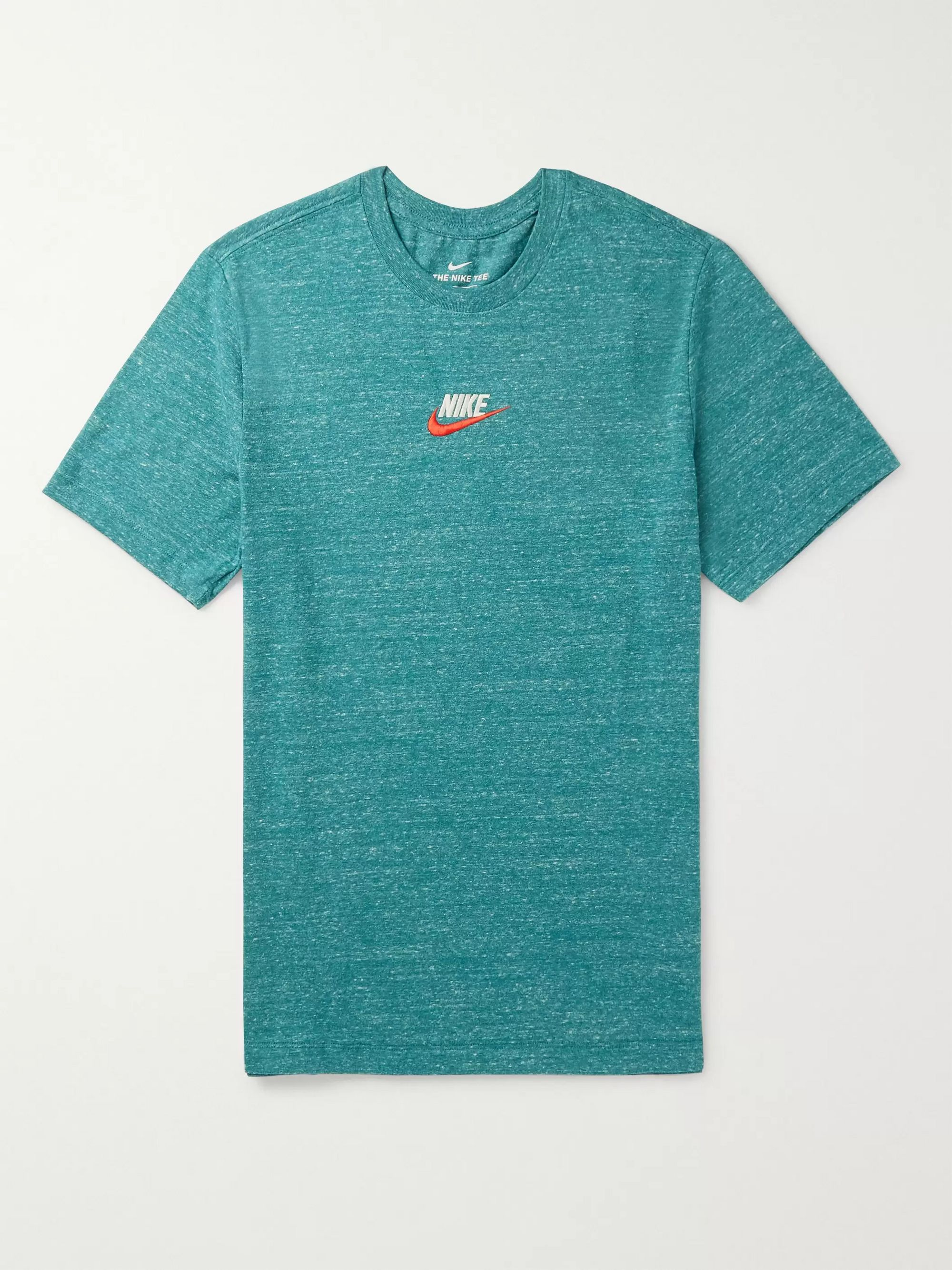 Nike Heritage Logo-Embroidered Mélange Cotton-Blend Jersey T-Shirt