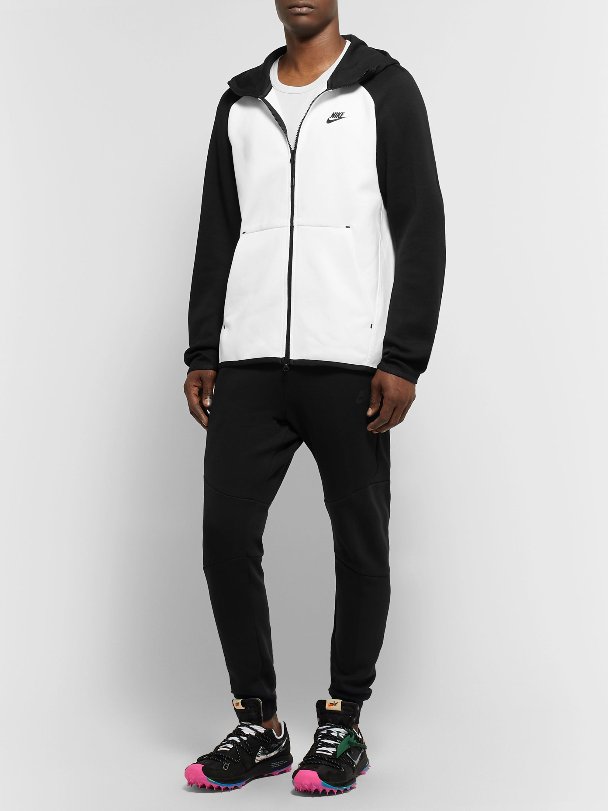 Nike Sportswear Colour-Block Cotton-Blend Tech Fleece Zip-Up Hoodie