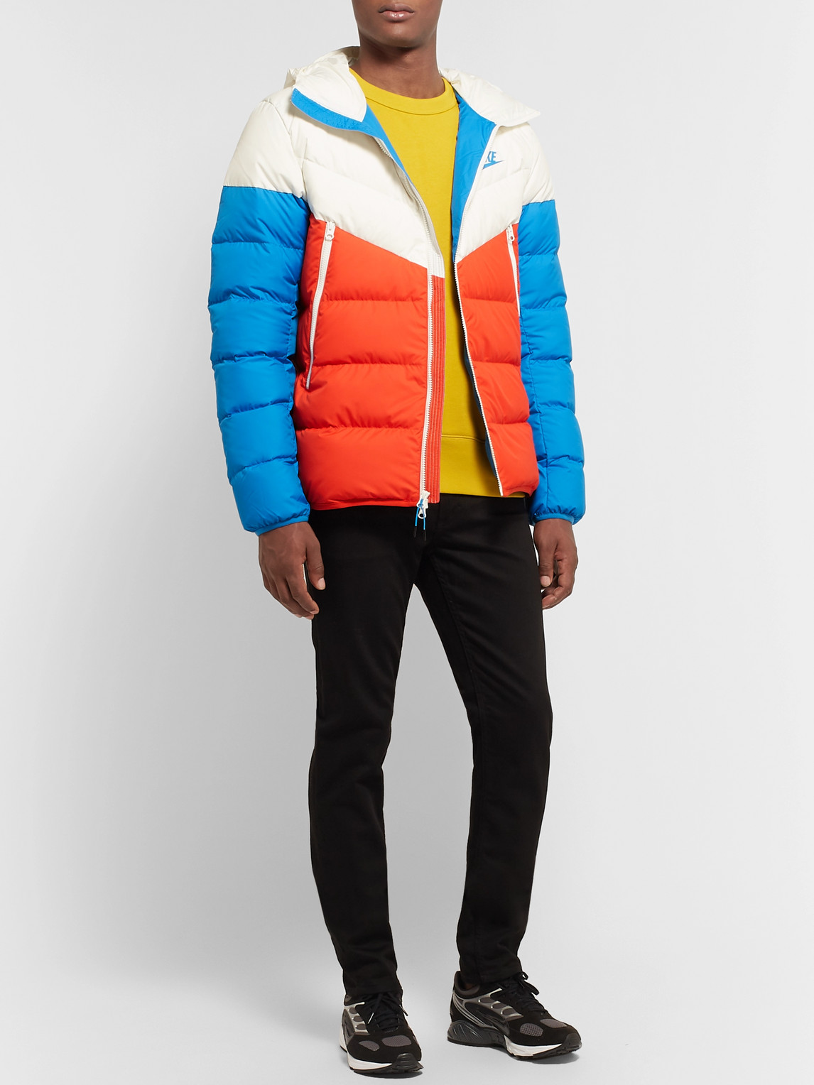 NIKE WINDRUNNER COLOUR-BLOCK QUILTED SHELL DOWN HOODED JACKET