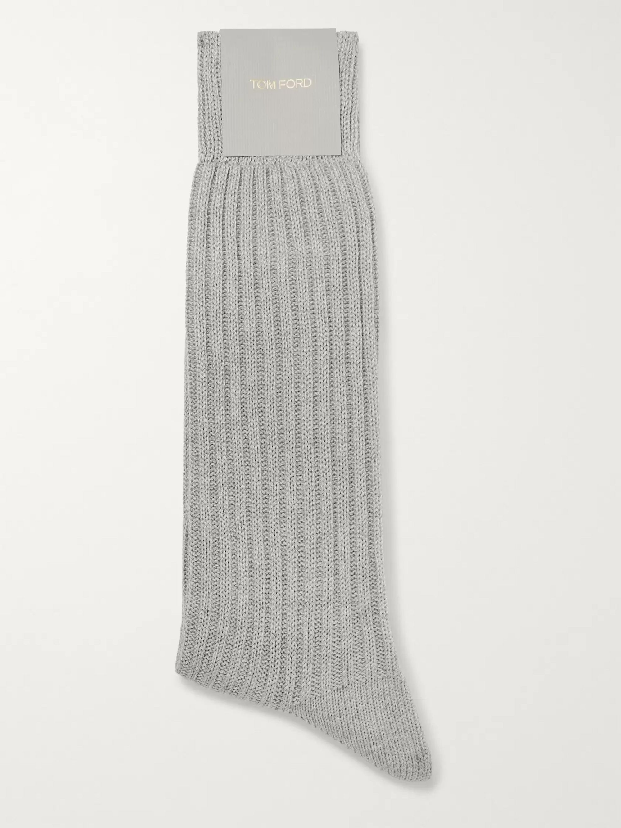 TOM FORD Ribbed Mélange Cotton Socks