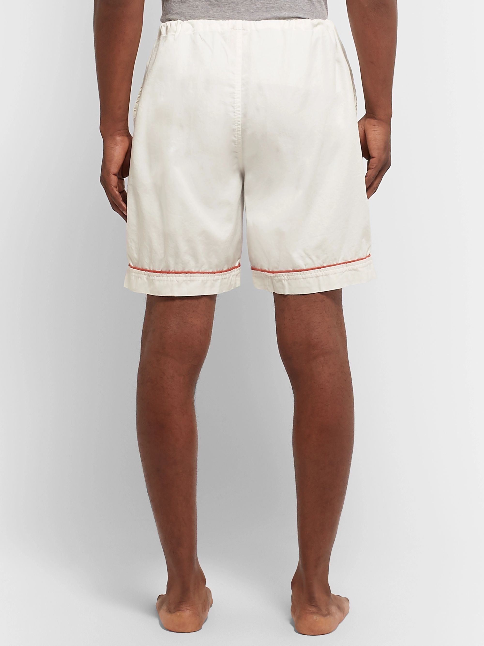 Cleverly Laundry Piped Garment-Dyed Washed-Cotton Pyjama Shorts