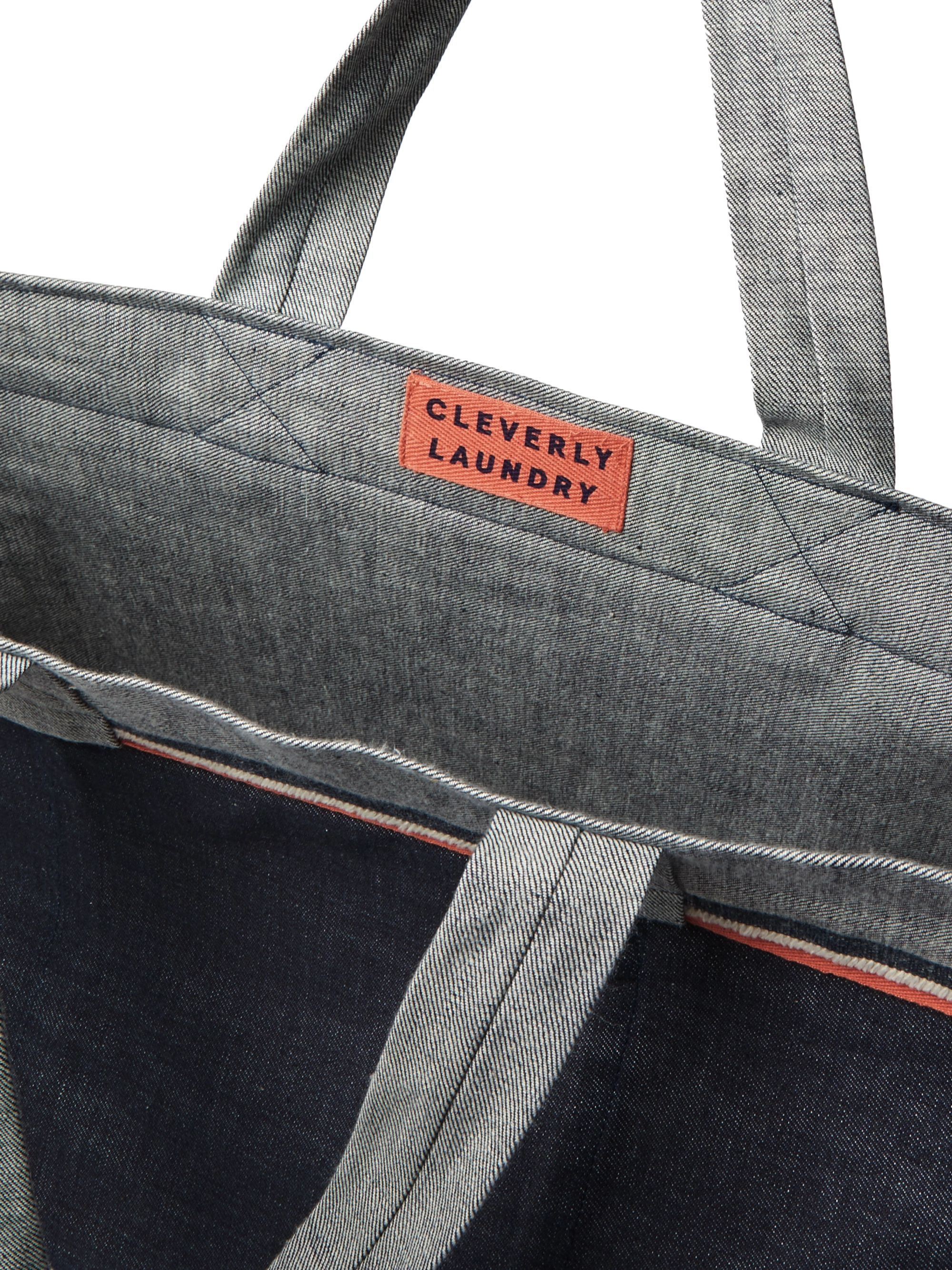 Cleverly Laundry Grosgrain-Trimmed Denim Tote Bag