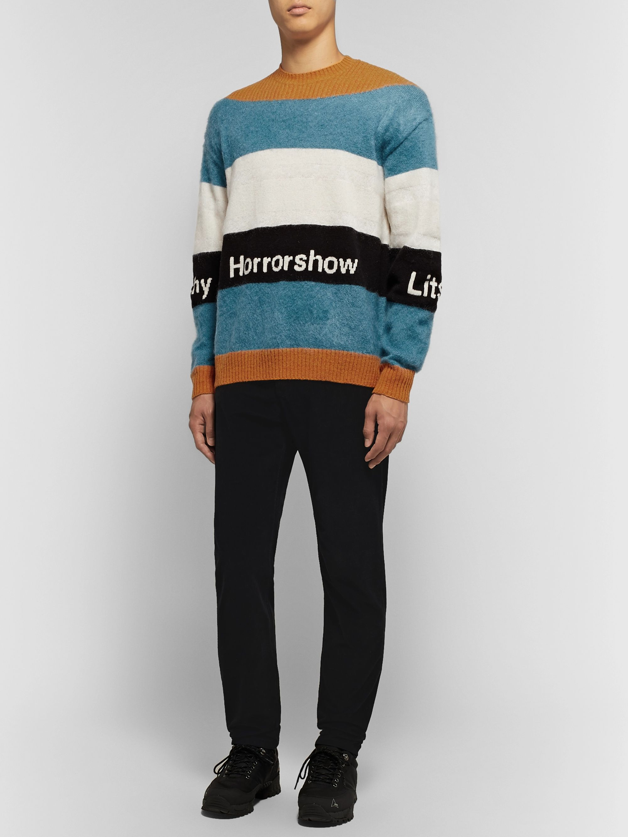 Undercover Intarsia Striped Wool-Blend Sweater
