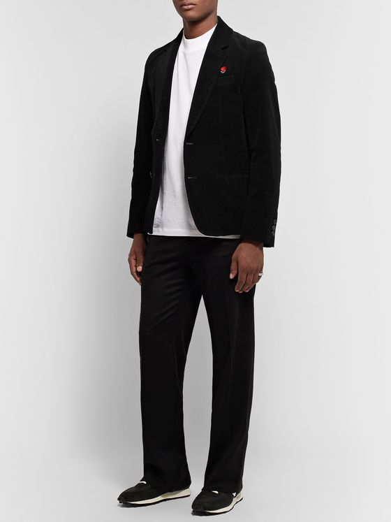 Undercover Black Logo-Embroidered Cotton-Blend Corduroy Blazer