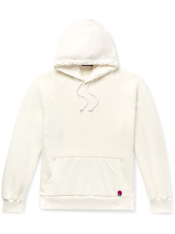 Undercover Nylon-Panelled Embroidered Polartec Fleece Hoodie