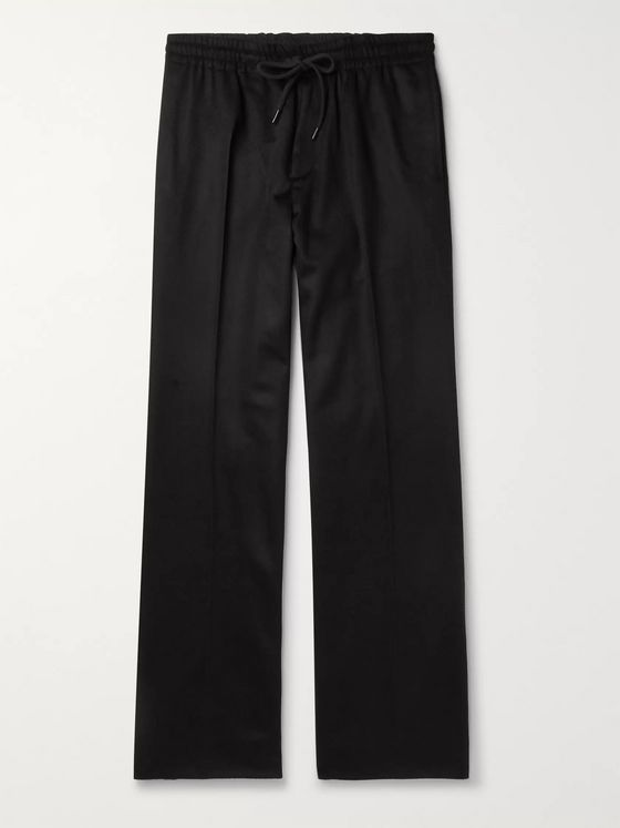 Undercover Black Wide-Leg Cashmere Drawstring Trousers