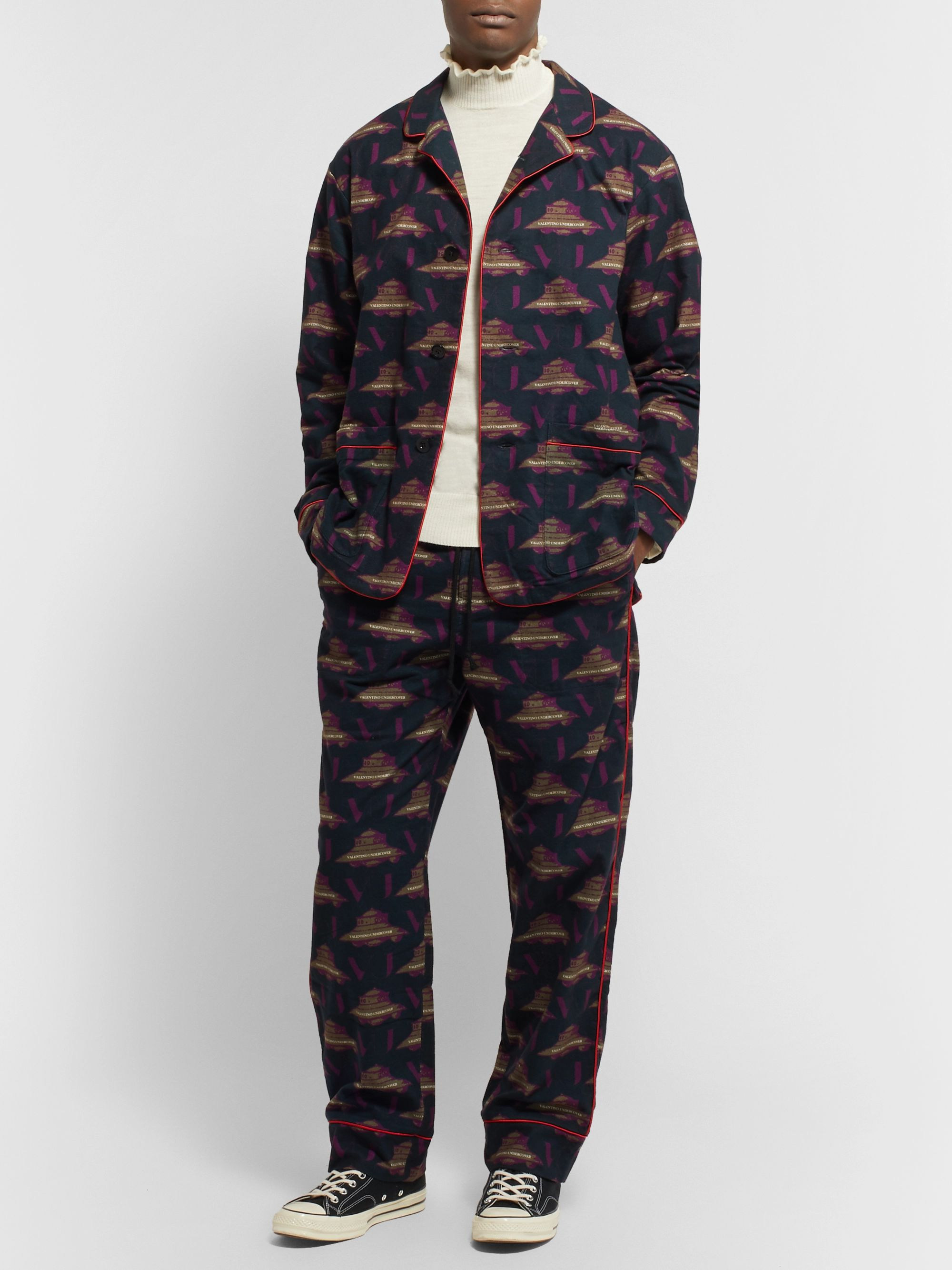 Undercover + Valentino Piped Printed Brushed-Cotton Pyjama Set