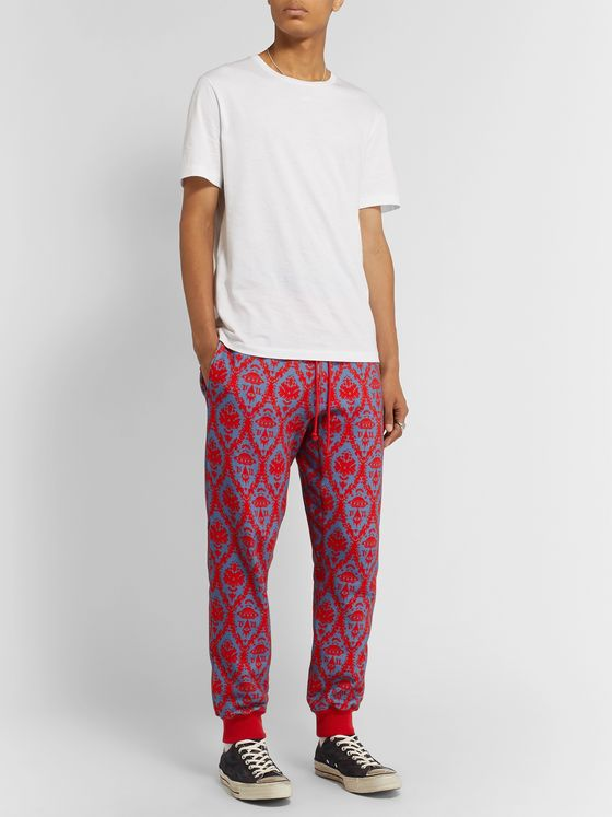 Undercover + Valentino Tapered Printed Loopback Cotton-Jersey Sweatpants
