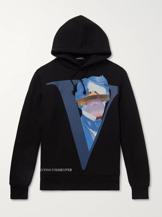 Undercover + Valentino Printed Fleece-Back Cotton-Jersey Hoodie