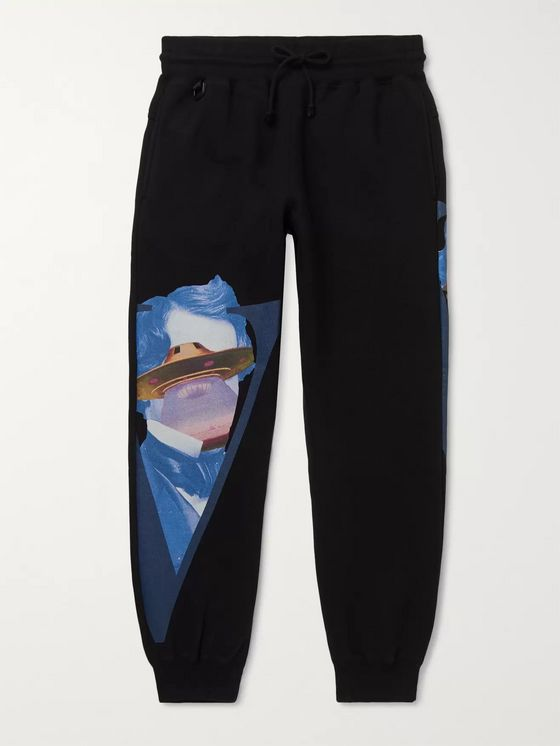 Undercover + Valentino Tapered Printed Fleece-Back Cotton-Jersey Sweatpants