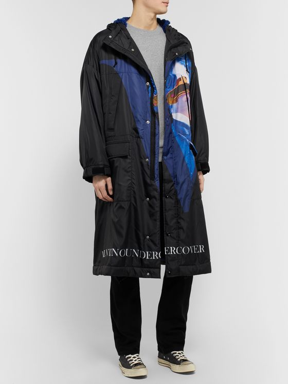 Undercover + Valentino Faux Fur-Lined Printed Shell Coat