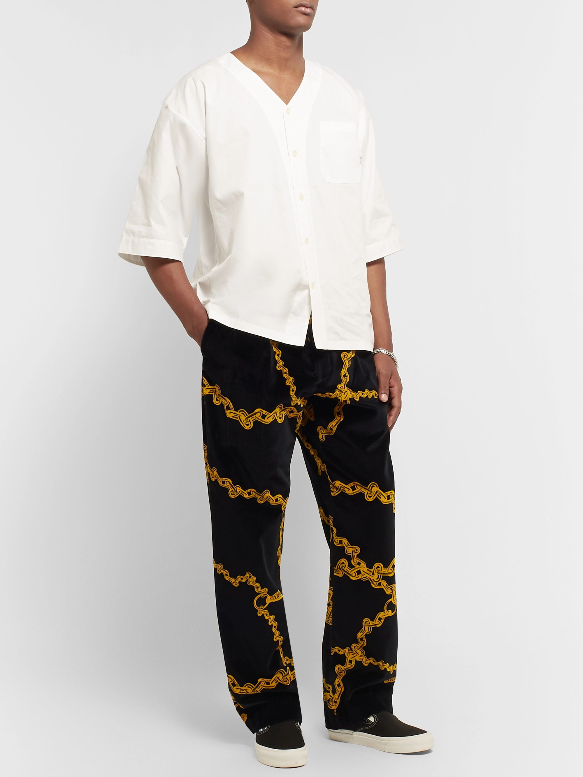 Aries Black Pleated Printed Cotton-Velvet Suit Trousers