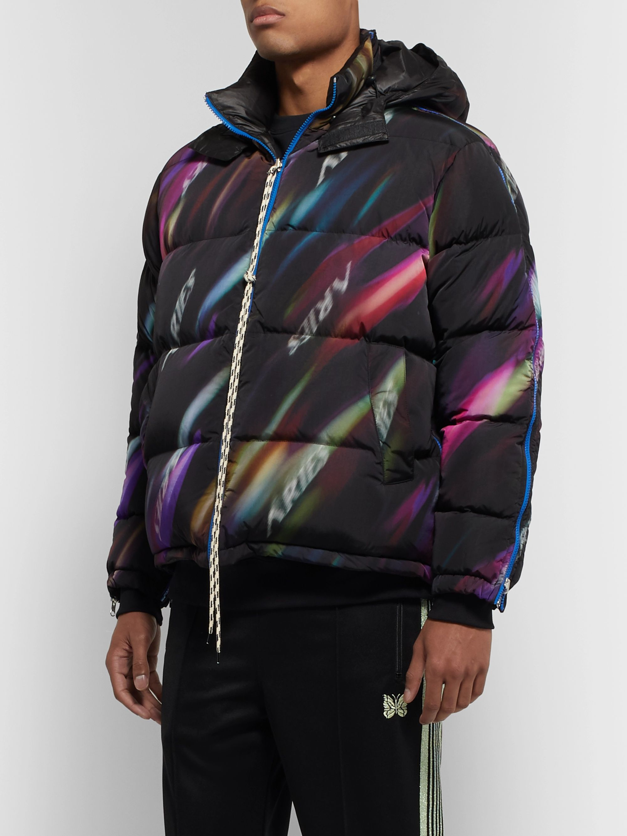 Aries Reversible Quilted Printed Shell Hooded Down Jacket