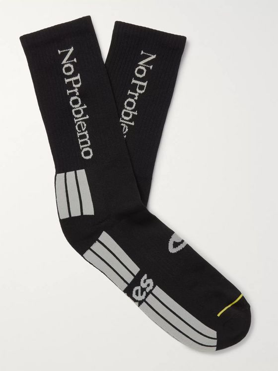 Aries Logo-Jacquard Stretch Cotton-Blend Socks