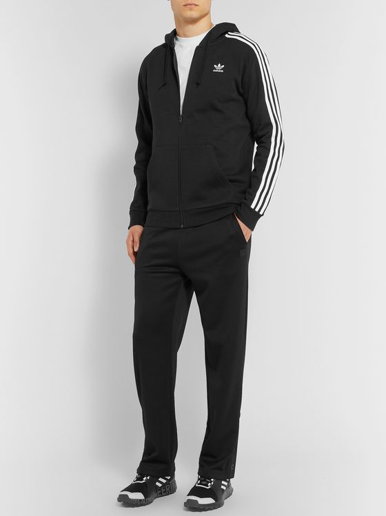 adidas Originals Striped Cotton-Blend Jersey Zip-Up Hoodie