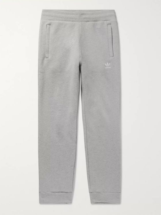 adidas Originals Slim-Fit Tapered Logo-Embroidered Mélange Loopback Cotton-Jersey Sweatpants