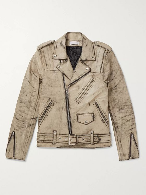 John Elliott + Blackmeans Distressed Leather Biker Jacket
