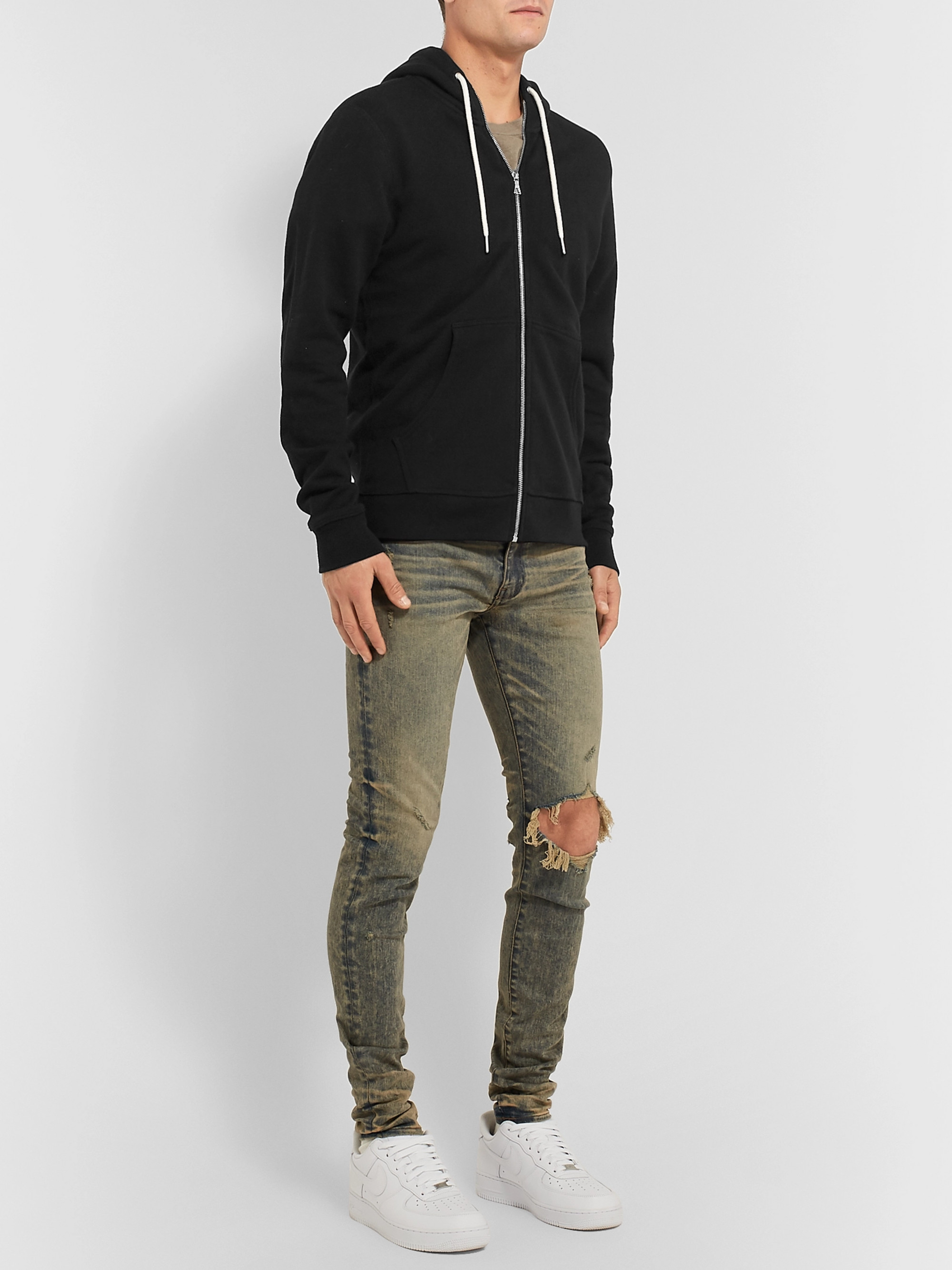 John Elliott Loopback Cotton-Blend Jersey Zip-Up Hoodie
