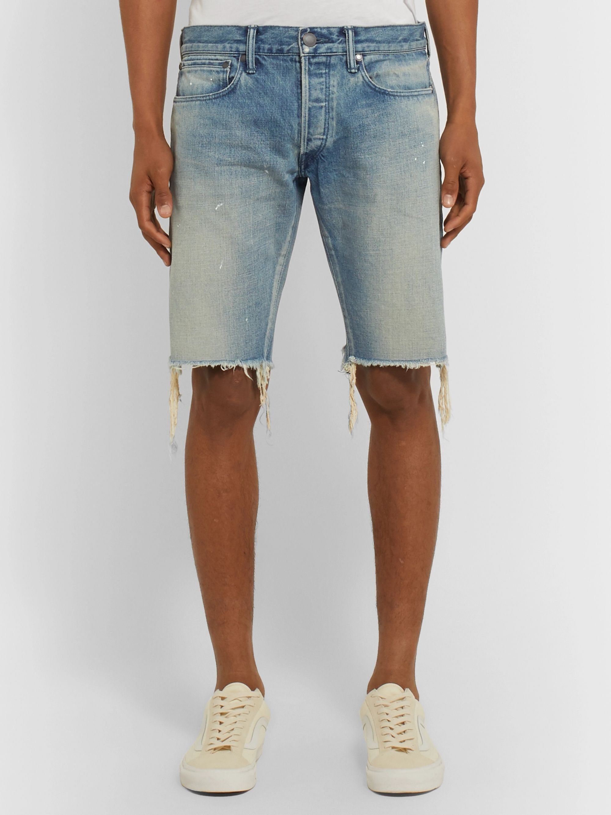 John Elliott The Cast 2 Slim-Fit Distressed Denim Shorts