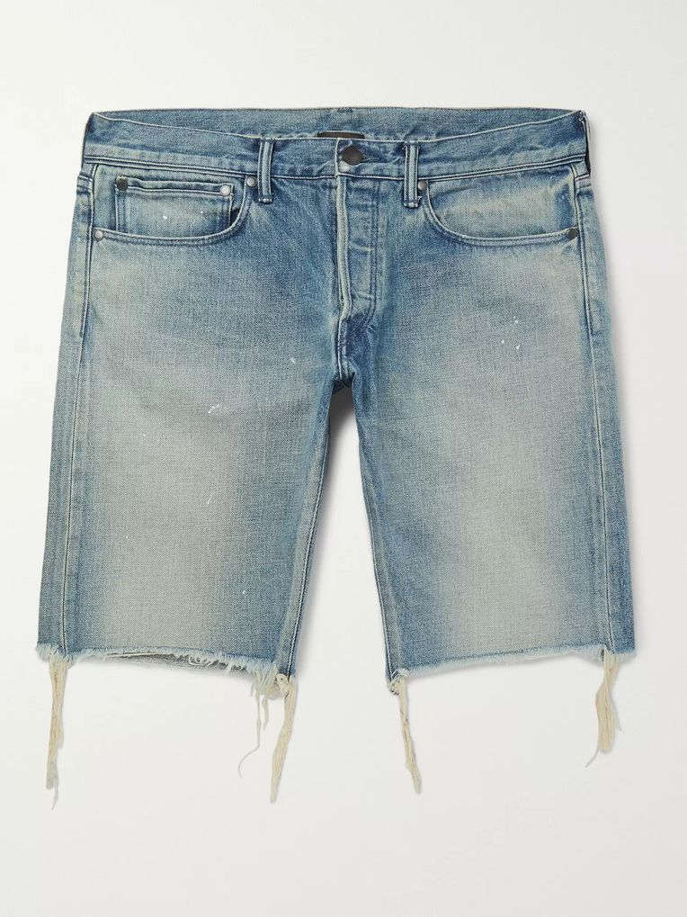 John Elliott The Cast 2 Slim-Fit Distressed Selvedge Denim Shorts