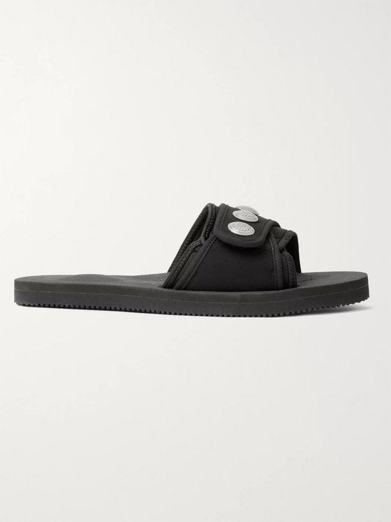 John Elliott + Blackmeans x Suicoke Lotus Embellished Neoprene and Nylon Slides