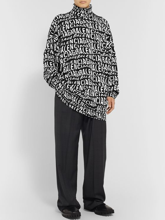 Balenciaga Oversized Logo-Intarsia Wool-Blend Rollneck Sweater