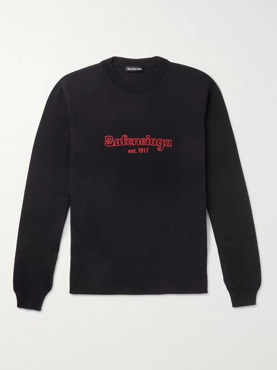 Balenciaga Logo-Embroidered Virgin Wool Sweater