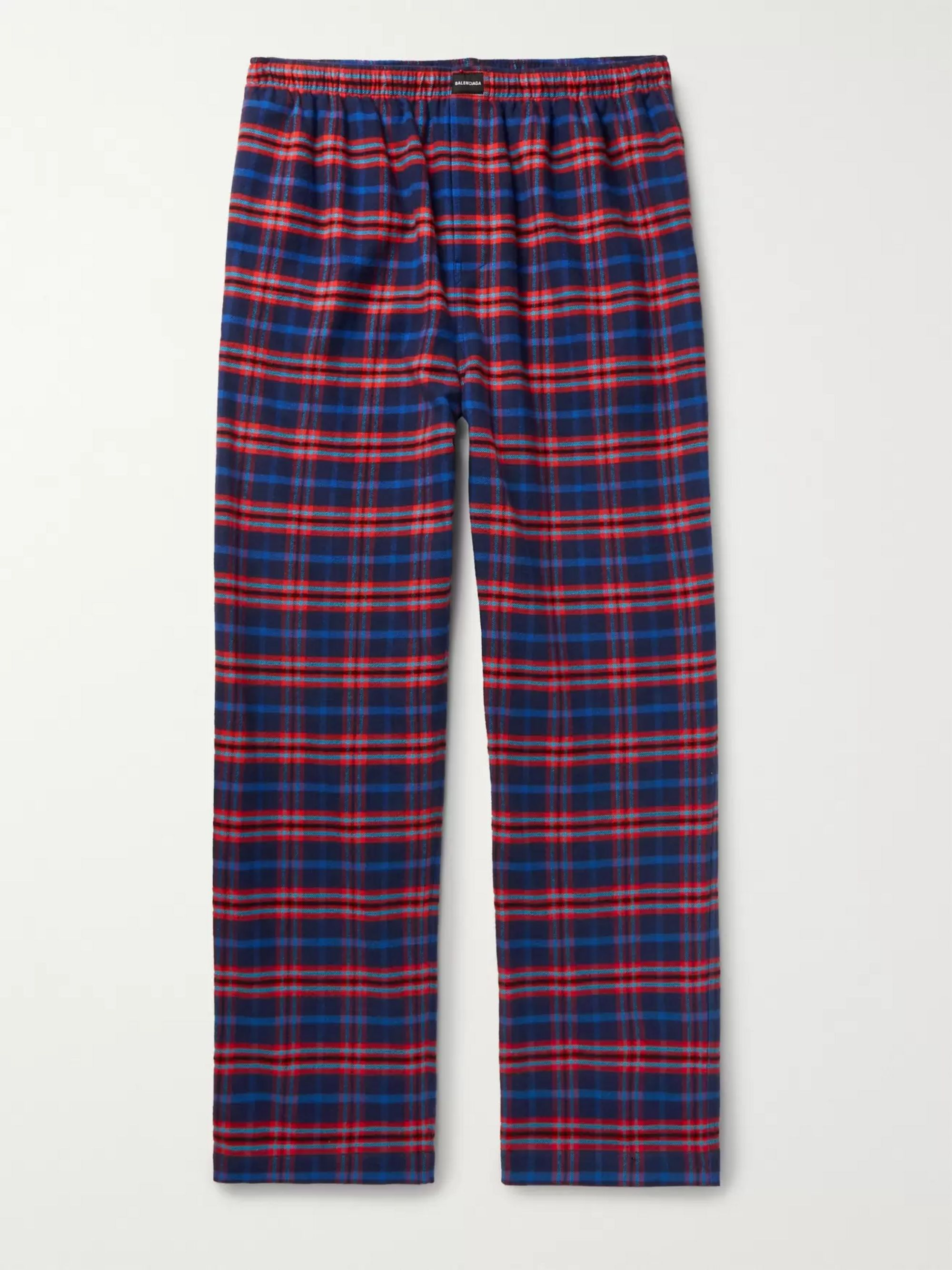 Balenciaga Wide-Leg Checked Cotton-Flannel Drawstring Trousers