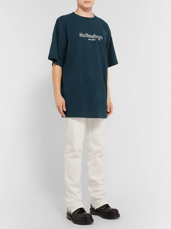 Balenciaga Oversized Logo-Embroidered Cotton-Jersey T-Shirt