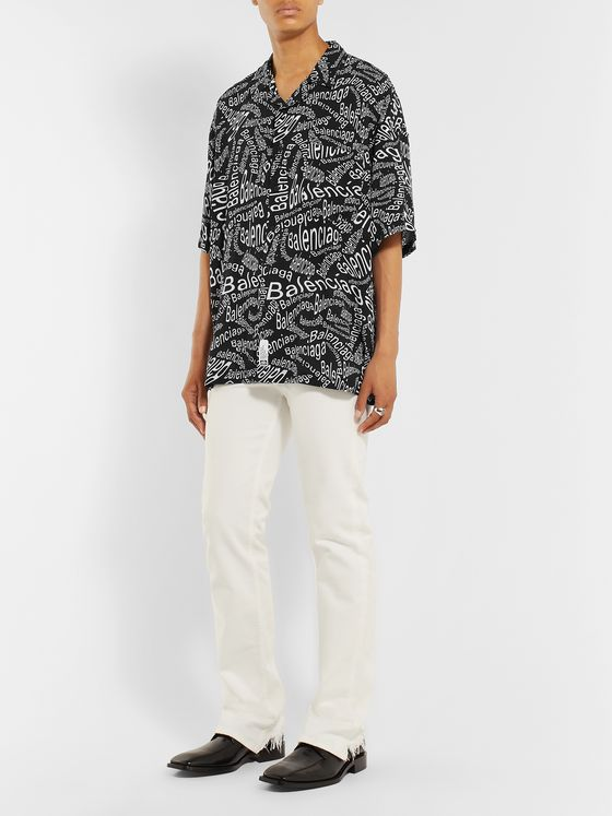 Balenciaga Oversized Camp-Collar Logo-Print Woven Shirt