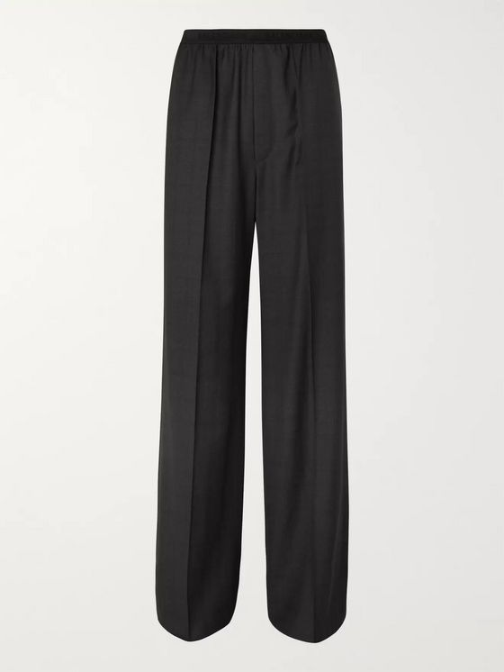 Balenciaga Wide-Leg Checked Virgin Wool Trousers
