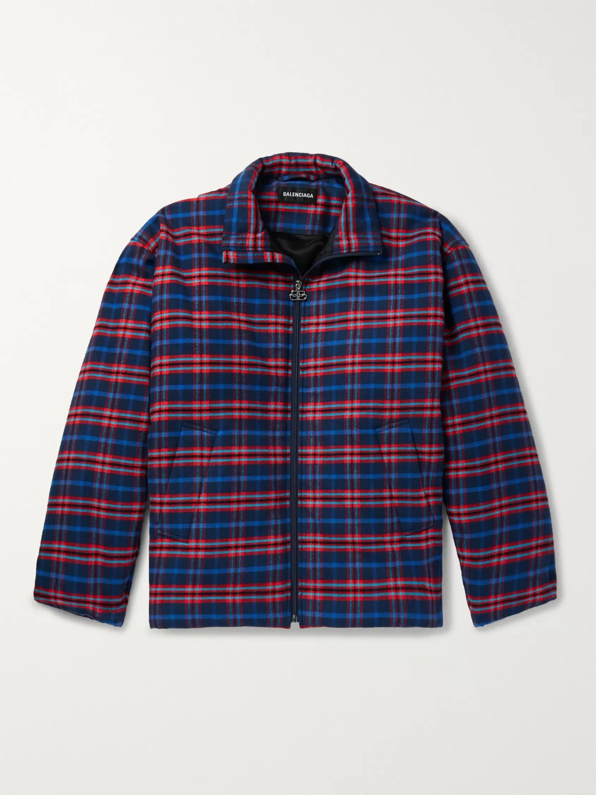 Balenciaga Padded Checked Cotton-Flannel Jacket