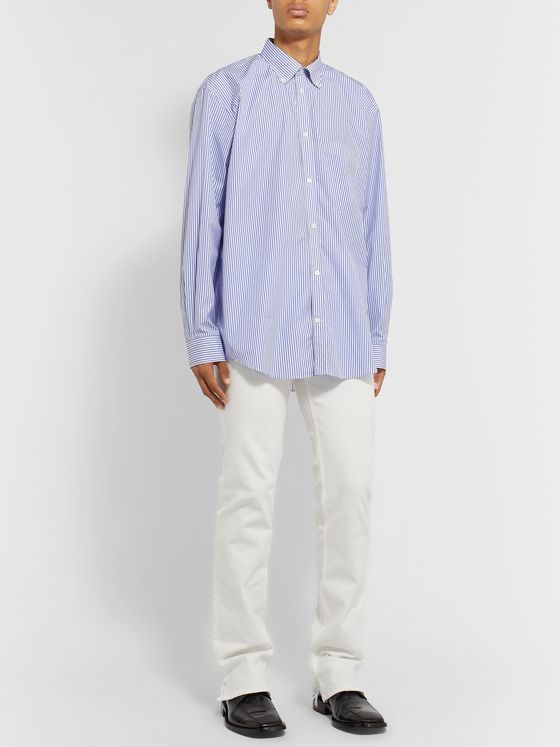 Balenciaga Button-Down Collar Striped Cotton-Poplin Shirt