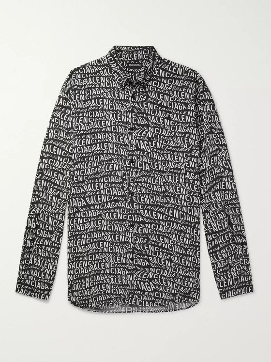 Balenciaga Oversized Button-Down Collar Logo-Print Woven Shirt