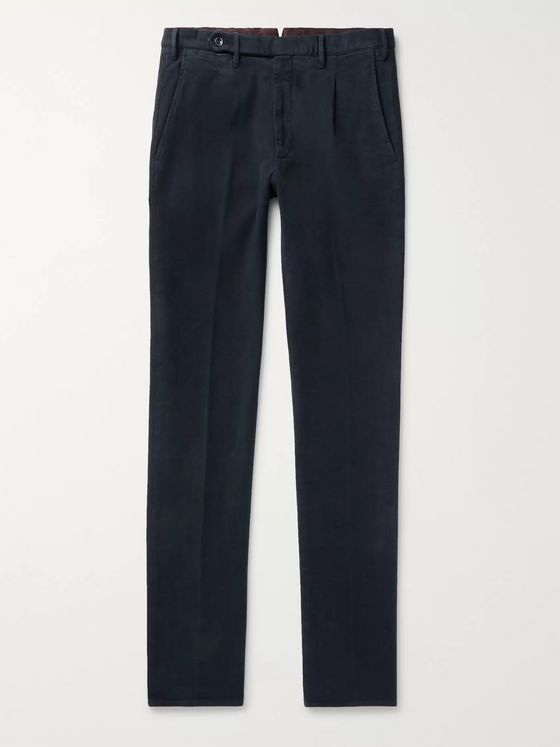 Zanella Navy Will Tapered Garment-Dyed Cotton-Blend Trousers