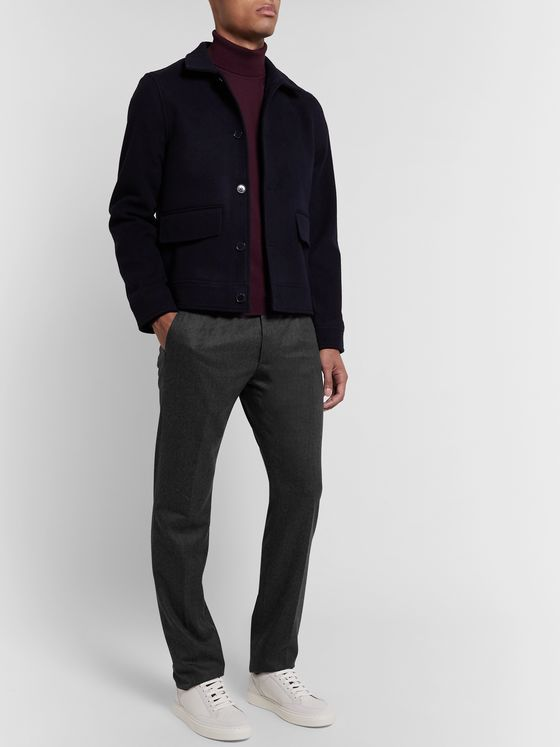 Zanella Black Will Slim-Fit Pleated Virgin Wool-Twill Trousers