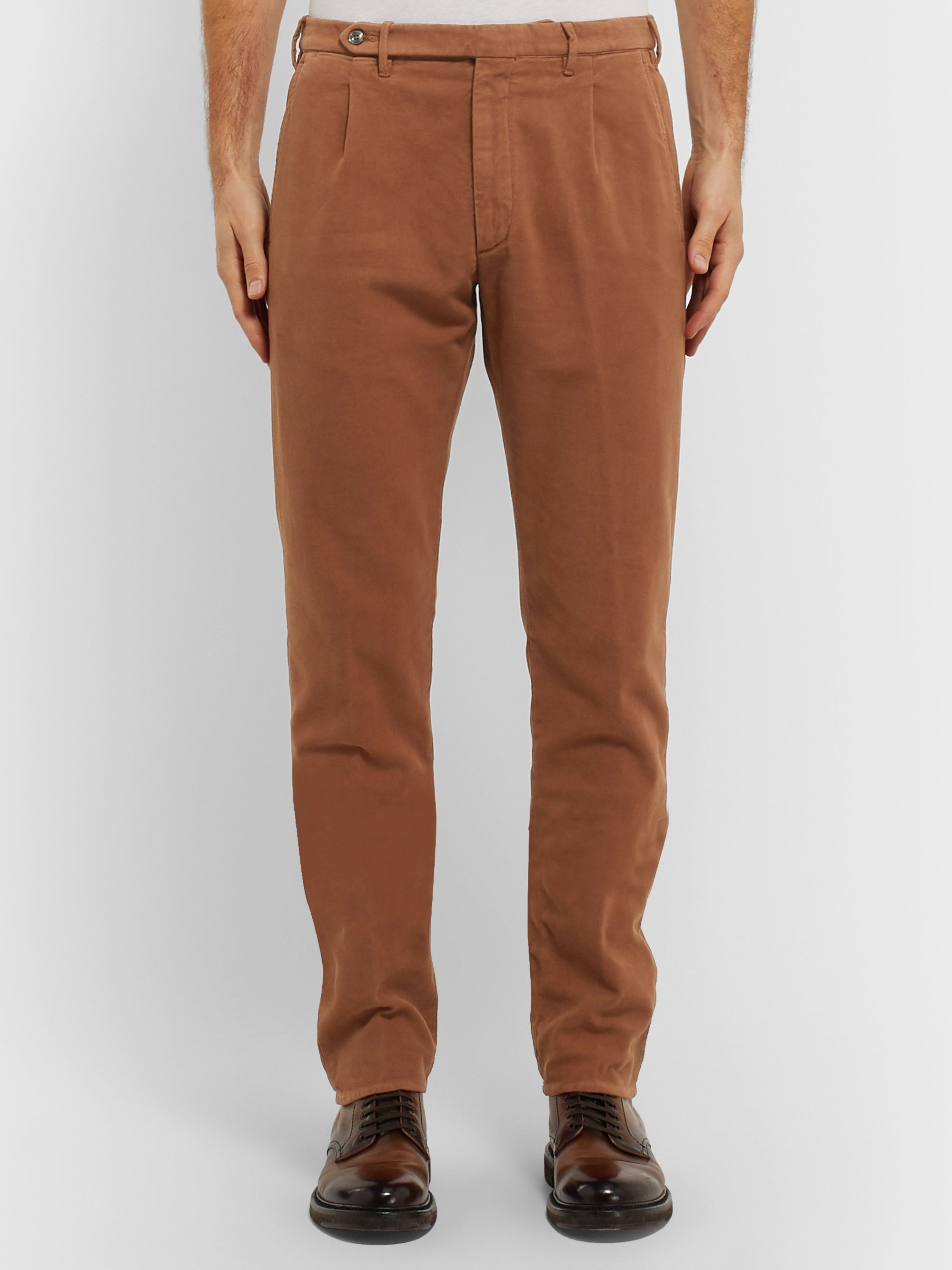 Zanella Tapered Pleated Cotton-Blend Moleskin Trousers