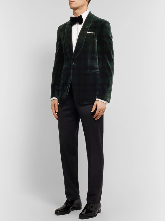 Ralph Lauren Purple Label Green Tartan Cotton-Velvet Tuxedo Jacket