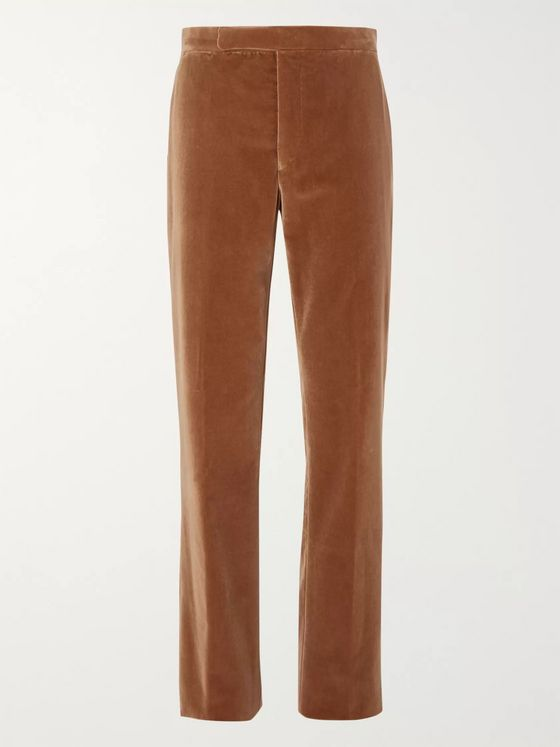 RALPH LAUREN PURPLE LABEL Camel Cotton-Velvet Suit Trousers